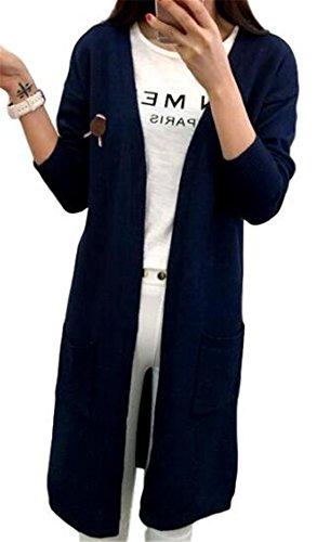 Youchan(ヨウチャン) レディース カーディガン ロング 長袖 飾り ポケット ゆったり 着痩せ エレガント 通勤 春 夏 (L, ネイビー)