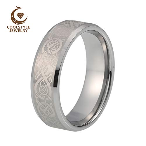 Unisex Dragon Pattern Laser Engraved Design Tungsten Wedding Rings (8mm)