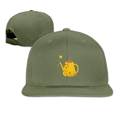 Houte Cute Vintage Card with Teapot and Floral Branch Unisex Flat Brimmed Snapback Classic Baseball Cap 21.6