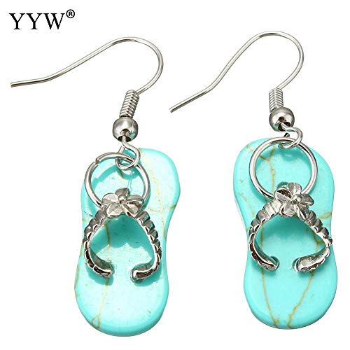 Natural Stone Earrings | Cute Lovely Shoes Charm Turquoise Agate Clear Quartz Amethyst Stone Dangle Earrings