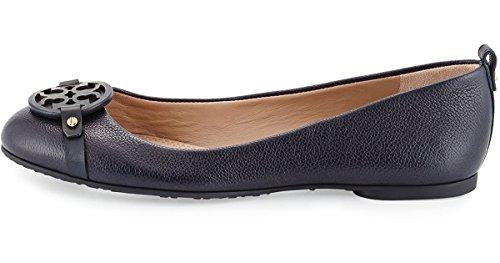 Tory Burch Womens Light Navy Tumbled Leather Mini Miller Ballet Flats (bright Navy, 7)