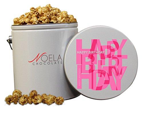Noela Chocolate Gourmet Popcorn 1 Gallon tin Caramel Happy Birthday Pink
