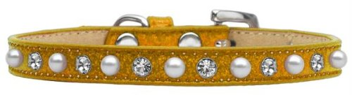 Mirage Pet Products Pearl and Jewel Ice Cream Collar, 14-Inch, Gold
