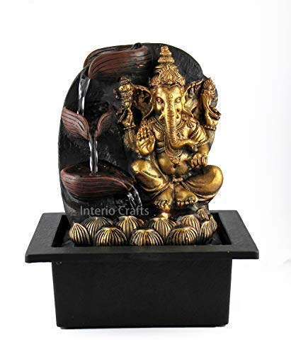 Interio Crafts Polyresin Beautiful Lord Ganesha On Blossomed Lotus