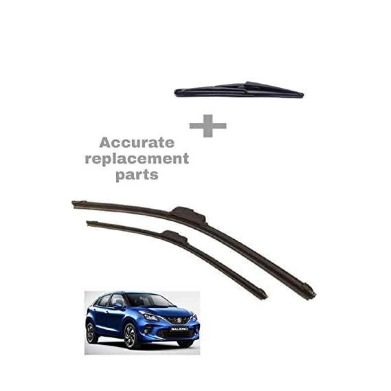 Accurate- Front Frameless Flat Wiper Blades and Rear Wiper Blade only for Baleno,Set of 3