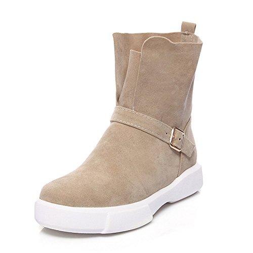 ZHZNVX HSXZ Zapatos de Mujer Cuero de Nubuck Aterciopelado Otoño Invierno Botas de Nieve Botas de Moda Botas Bota Punta Redonda Plana Botines/Botines Botas Mid-Calf,Almendros,US8/UE39/UK6/CN39 -