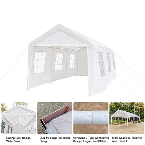 VINGLI 10' x 20' Carport Heavy Duty Outdoor Canopy Car Park Sun Shelter, w/ 8 Removable Sidewalls,Versatile Garage Vehicle Shelter,Wedding Party Tent,Polyester Fabric Cover UV Protection Waterproof