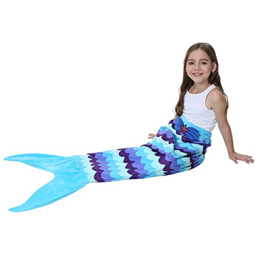 Camlinbo Mermaid Tail Blanket for Girls Flannel Soft Warm All Seasons Sleeping Bags Best Great Gift for Friends Family Apply to Bedroom Sofa Beach Outdoor (B-Pattern)