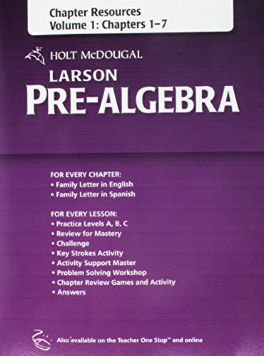 Holt McDougal Larson Pre-Algebra: Chapter Resources, Volume 1 (Chapters 1-7)