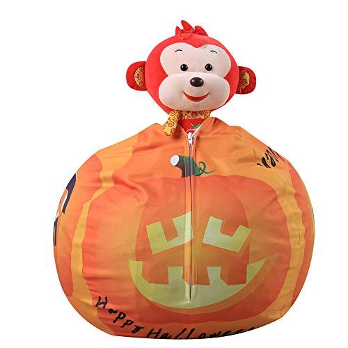 (Gbell Halloween Pumpkin Soft Animal Storage Bean Bag Organizer | Jumbo Pillow Cushioned Chair | Stuffed Animal Storage Bag for Girls Kids Boys Toys,Dolls,Blankets,Emoji Pillows,Nursery Play)