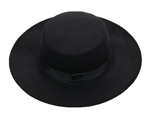 DRAGON SONIC Men and Women Flat Top Fedora Hat - Black