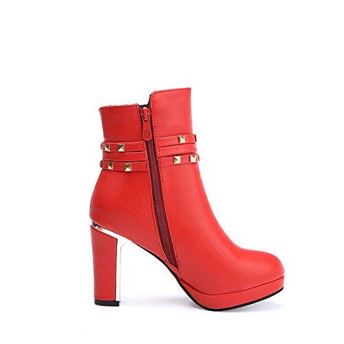 AgooLar Damen Ziehen auf Rund Zehe PU Mitte-Spitze Stiefel mit Metall Nägel, Weinrot, 36