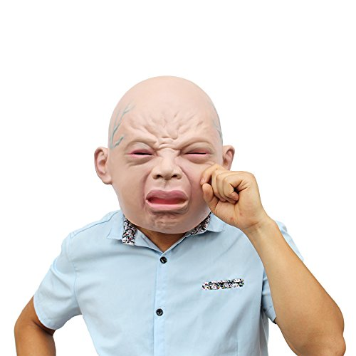 Big Head Mask Baby (CREATOR Novelty Halloween Costume Party Latex Head Mask Cry Face)