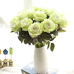 Euone  Artificial Floral, Artificial Flower Fake Roses Flannel Floral Bridal Bouquet Wedding Party Home Decor 44