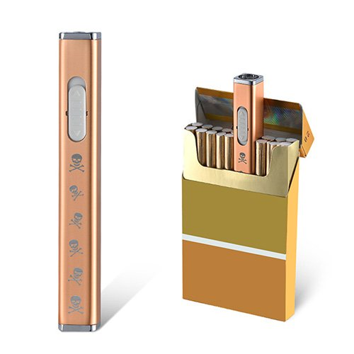 JOUGE Usb Mini Lighters Rechargeable Eletric Cigarette Lighter Flameless Windproof Lightweight Coil Slim Lighter (Skull Rose)