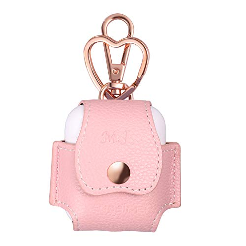 Sangaimei AirPods Case, high-Grade Premium PU Leather Snap Closure Protective Portable Cover Skin with Metal Clasp and Keychain for Apple AirPods 1 & AirPods 2 Charging Case-Pink