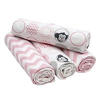 Bedtime Originals 4 Piece Flannel Blankets, Pinke