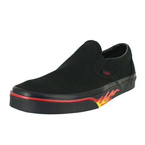on Slip Vans Flame Nero nbsp;Classic Unisex Wall Trainers Black Canvas Scarpe Black xHSwx