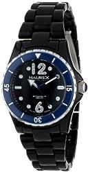 Haurex Italy Women's PN379DN2 Beauty Round Black Dial Rotating Bezel Crystal Watch