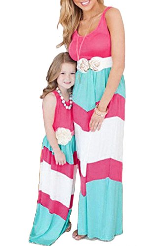 WIWIQS Summer Casual Mommy and Me Boho Striped Chevron Maxi Dresses(Rose and Blue,7-8T)