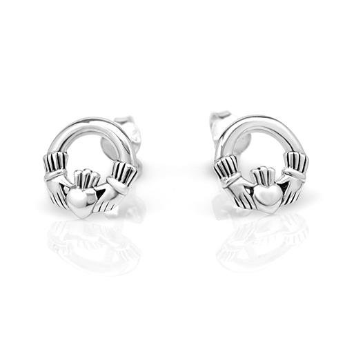 925 Sterling Silver Tiny Celtic Claddagh Friendship and - Claddagh Earrings Sterling Silver