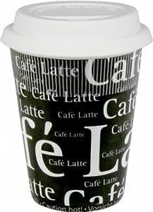 Travel Cafe Latte Writing Mug in Black (Set of 2) by Konitz