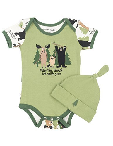 - Little Blue House by Hatley Baby Boys' Bodysuit & Cap, May The Forest Be with You Be with You, 6-12 Months