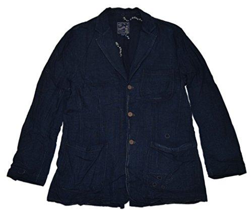 Ralph Lauren RRL Mens Western Patchwork Soft Denim Jean Blazer Navy Jacket Large