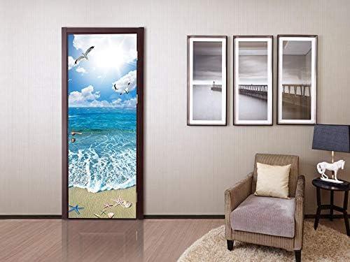 FLFK 3D Loto Agua Paisaje Adhesivo Fotogr/áfico Vinilos Puerta Pegatina Pared Murales para Cocina Sala de Ba/ño Decorativos 77X200cm