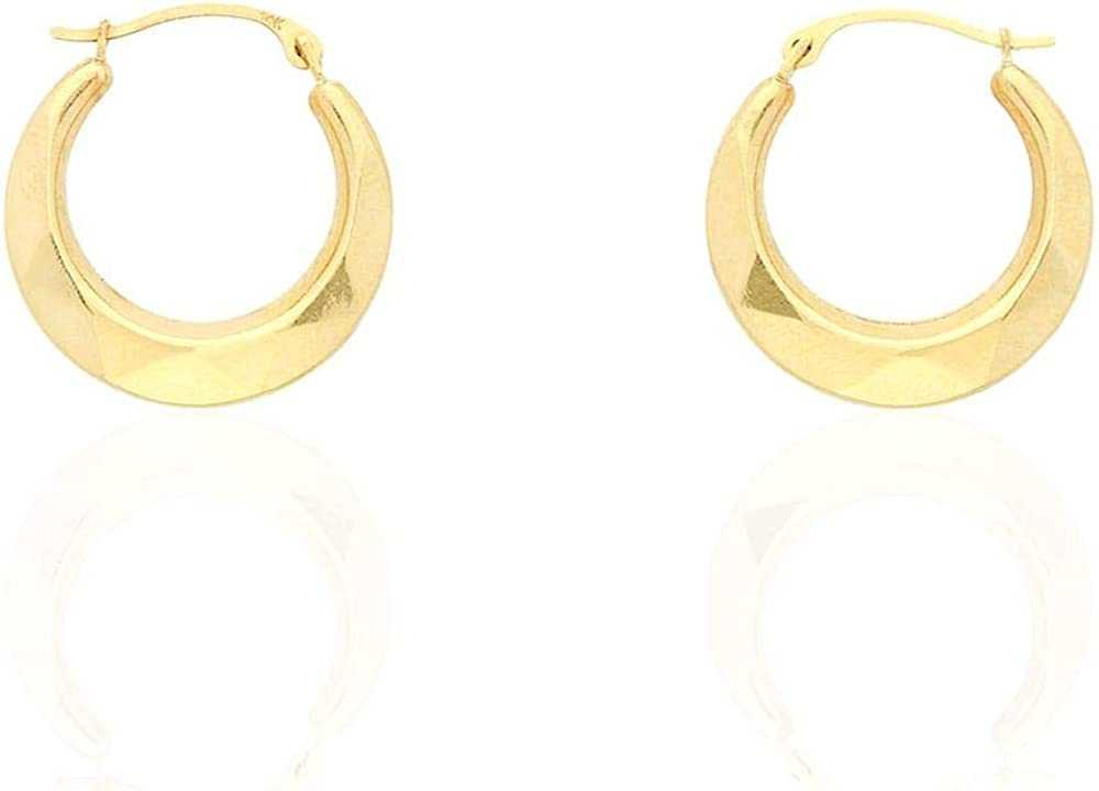 14k Yellow Gold High Polished Textured Round Creole Hoop Earrings
