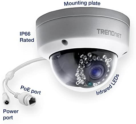 TRENDnet Indoor Outdoor Dome Style, PoE IP Camera with 3 Megapixel Full 1080p, IP66 Rated Housing, Night Vision up to 82ft., ONVIF, IPv6, TV-IP311PI Certified Refurbished