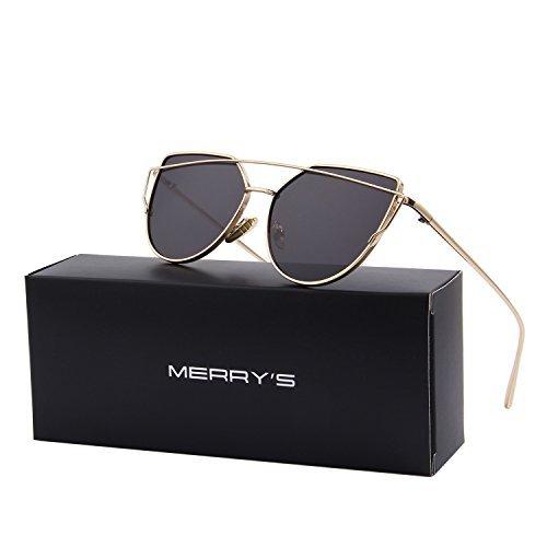 MERRY'S Classic Cat Eye Sunglasses For Women UV Protection eye glasses Coating Mirror UV400 S7882 (Gold&Black, (Uv400 Protection)