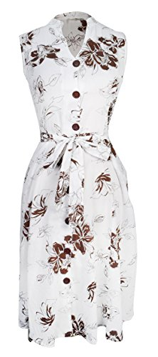 Peach Couture Womens Vintage Lightweight 100% Cotton Floral Button Up Shift Dress Brown and White