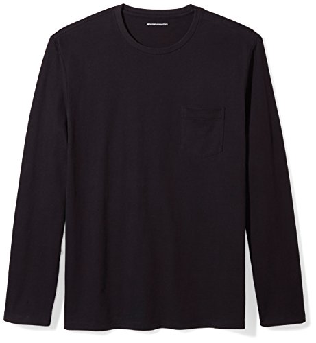 Amazon Essentials Men's Regular-Fit Long-Sleeve Pocket T-Shirt, Black, Large