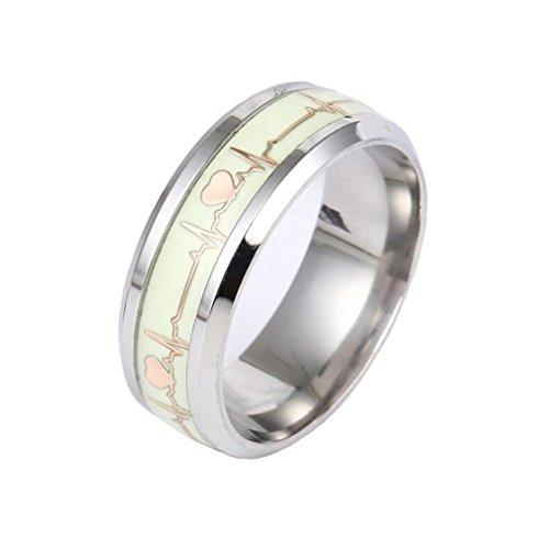 TINXOO Stainless Steel 8MM Gold Luminous Heartbeat Ring EKG Carbon Fiber Wedding Band Glow in The Dark,Size 10 ()