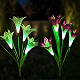 Garden Solar Lights Outdoor – 2 Pack Solar Powered Decorative Stake Lights with 8 Lily Flower, Multi-Color Changing LED Landscape Lights for Garden, Patio, Backyard (Purple and White)