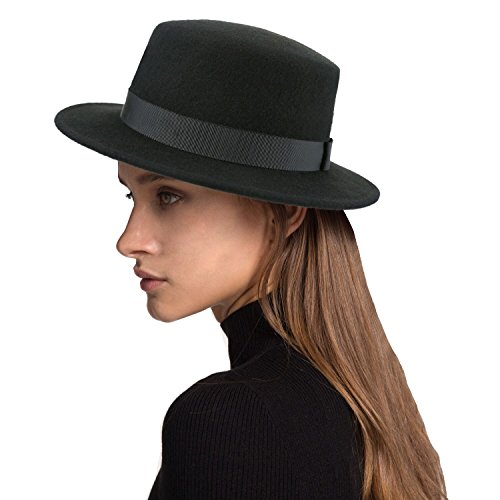 (Deevoov Boater Hat Women Wool Felt Flat Top Hat Party Church Bowknot Derby Trilby Hats, Black, 57CM/22.44