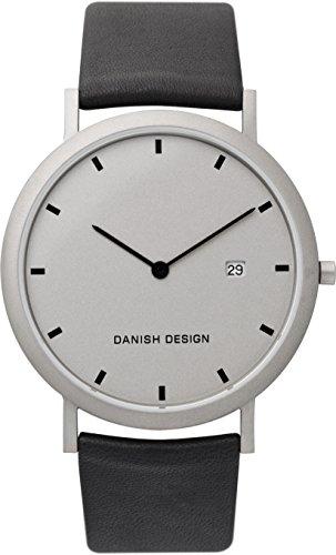 Danish Design IQ19Q881 Titanium Case Black Leather Band Gray Dial Men