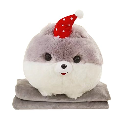 NAS AOSTAR 2 in 1 Pillow Blanket Plush Stuffed Animal Toys Throw Pillow and Blanket Set with Hand Warmer Design. (Grey)