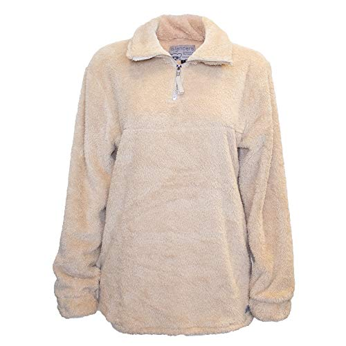 - Islanders Comfy Sherpa 1/4 Zip with Pockets Pullover Jacket, Beige, X-Small