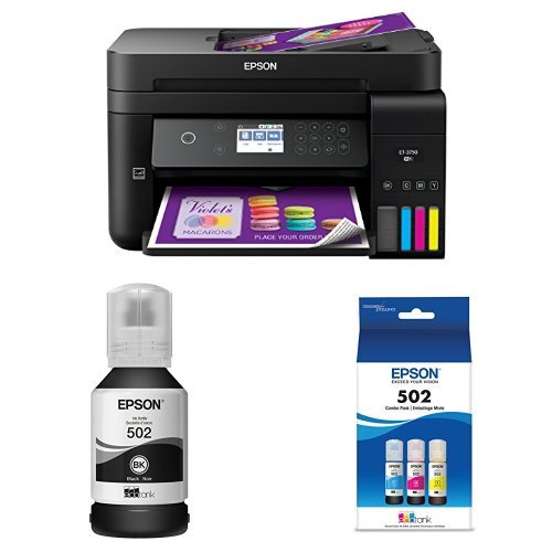 Epson WorkForce ET-3750 EcoTank Wireless Color All-in-One Supertank Printer with Scanner, Copier and Ethernet with Black Auto-Stop Ink Bottle and Color Combo Pack Auto-Stop Ink Bottle