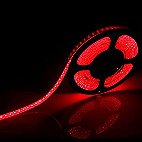 Led Strip Light 12V DC 5M 16.4ft 600 leds Flexible SMD 3528 Red Color Non-waterproof lights strips by Song-Wing