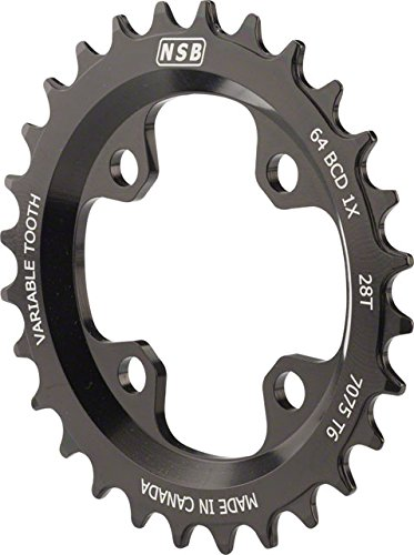 North Shore Billet Variable Tooth Chainring: 28T, Standard 64 BCD, Black ()
