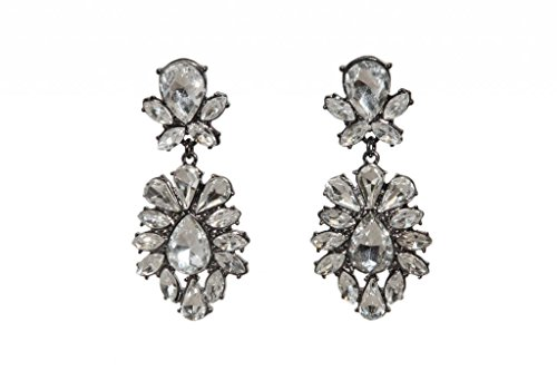 Lux Accessories Gunmetal Bridal Clear Teardrop Rhinestone Statement Earrings -
