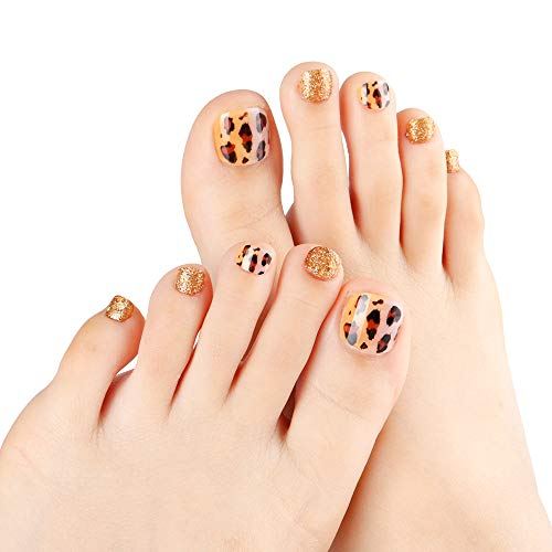 NEW Style Fake Toe Nails Leopard Gradient/Gold Glitter Full Cover Finished Feet Patch for Girls/Women 24pcs