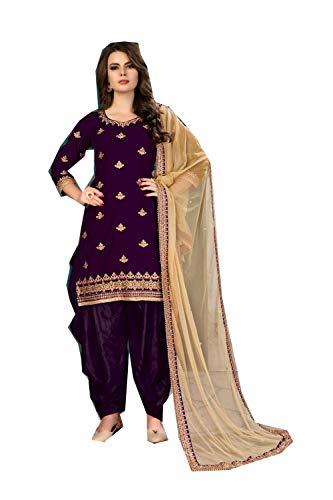 (daindiashop-USA Readymade Salwar Kameez Ready to Wear Suit Embroidery Work Wedding Partywear Dress in Purple Velvet)