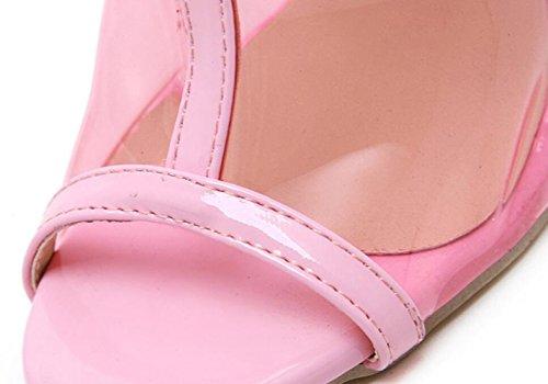 Transparente Alto Las Linyi Pink De La Artificial Botines Tacón Moda Pie Del Nueva Cuña Mujeres Dedo Salvaje Tidechunky Talón twwIqp