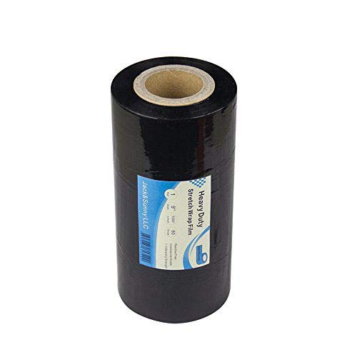 Jack&Sunny Stretch Film Wrap 9 inch x 1000 Feet 80 Gauge (Pack of 1 Roll) Black for Moving Shipping Packing Depot&Storage Industrial Hand Plastic Stretch Wrap Film from Jack&Sunny