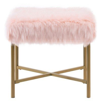 Faux Fur Square Ottoman - Pink - HomePop Pink by HomePop
