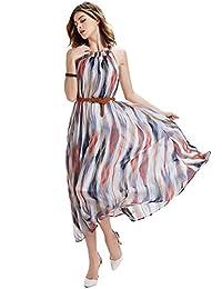 DOOXILADY Women's Floral Chiffon Bohemia Maxi Beach Long Dress